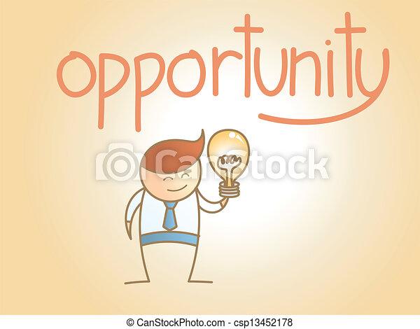 concepto, empresa / negocio, carácter, idea, nuevo, oportunidad, caricatura, hombre - csp13452178