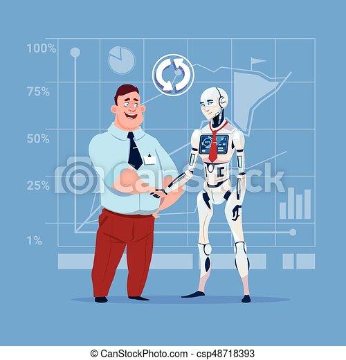 Hombre de negocios y robot moderno estrechando manos concepto de cooperación de inteligencia artificial - csp48718393