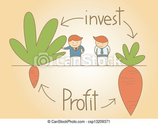El hombre de negocios habla de invertir y sacar provecho de los dibujos animados - csp13209371