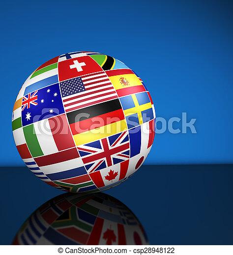 El concepto internacional del mundo de los negocios marca el mundo - csp28948122