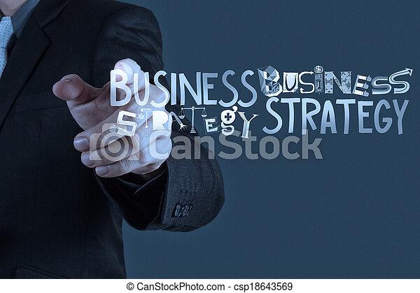 El hombre de negocios dibuja estrategia de negocios como concepto - csp18643569
