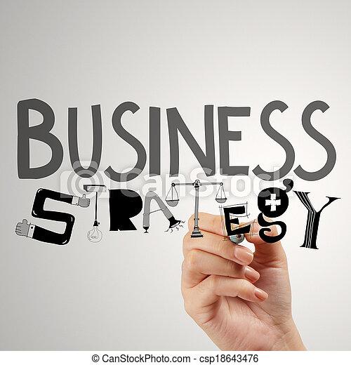 El hombre de negocios dibuja estrategia de negocios como concepto - csp18643476