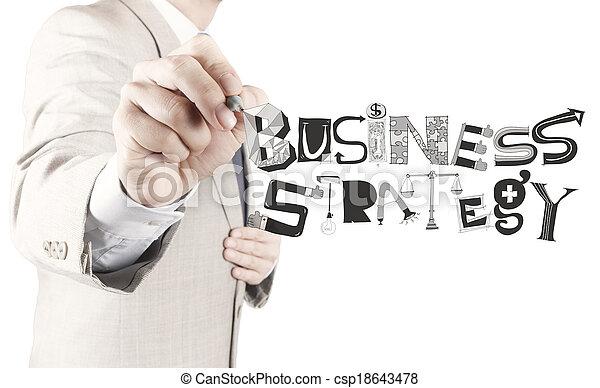 El hombre de negocios dibuja estrategia de negocios como concepto - csp18643478