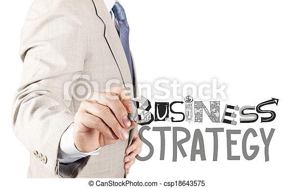El hombre de negocios dibuja estrategia de negocios como concepto - csp18643575