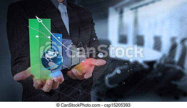 Hombre de negocios trabajando con una nueva computadora moderna y estrategia de negocios como concepto - csp15205393