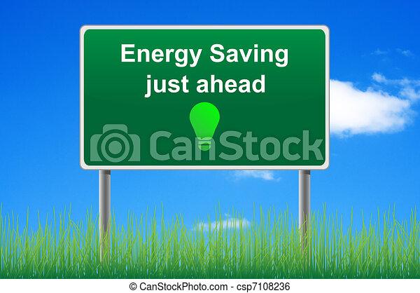 Ahorramiento de energía, señal de ruta conceptual en el fondo del cielo. - csp7108236