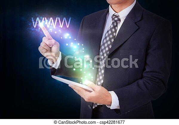 concepto, establecimiento de una red, tableta, www., planchado, tenencia, internet, hombre de negocios - csp42281677