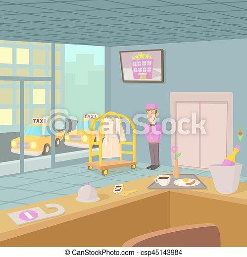 El concepto de recepción del hotel, estilo de dibujos animados - csp45143984