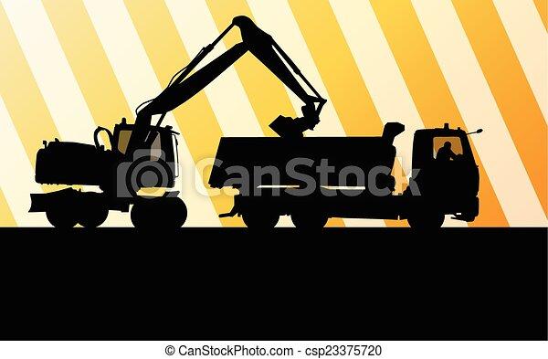 Excavador excavador en vector de acción concepto de fondo - csp23375720