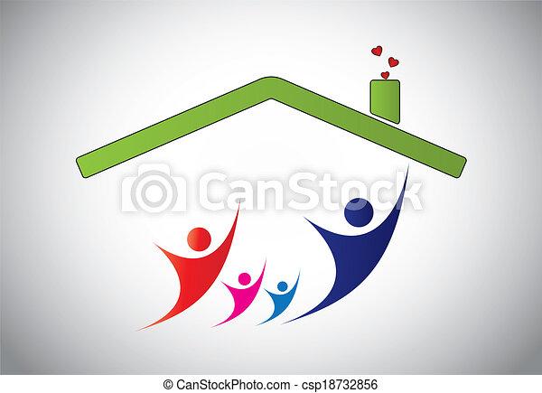 Familia feliz de hombre, mujer y niños saltando alegría en casa. La felicidad de la familia con padres e hijos con las manos arriba en el aire con techo de la casa y fondo blanco brillante - ilustración conceptual - csp18732856
