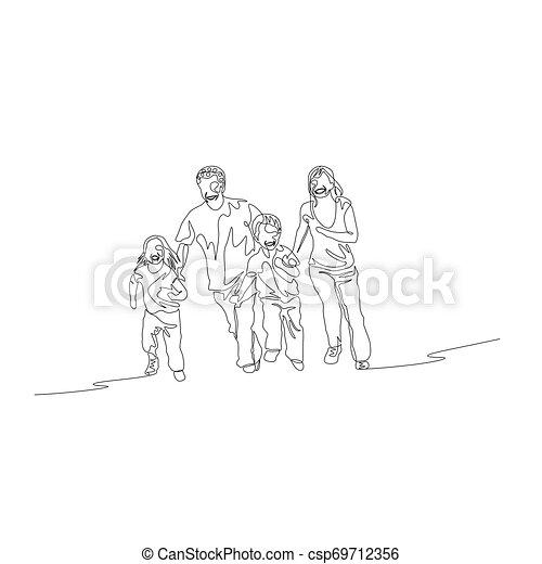 Una línea continua de familia feliz corriendo. Un concepto familiar - csp69712356