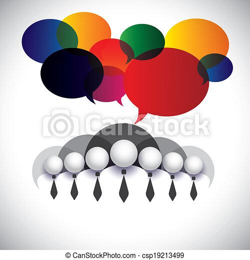 Empleados blancos de comunicación, interacción, vector conceptual. El gráfico también muestra conferencias, redes sociales, ejecutivos  ⁇  administración, miembros de la junta de la empresa, gente corporativa - csp19213499