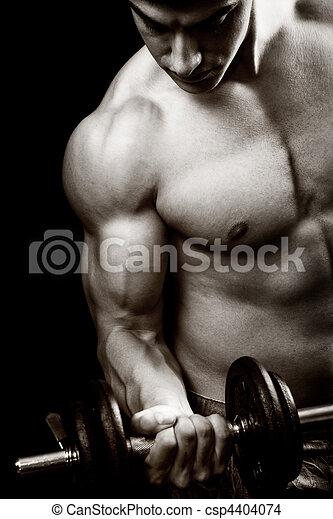 concepto, gimnasio, -, culturista, condición física, dumbbell - csp4404074