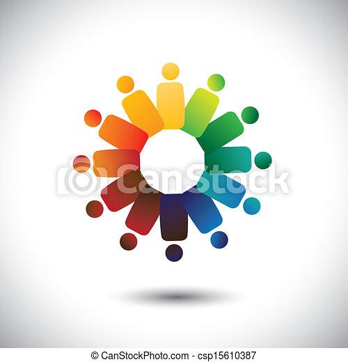 Concepto la unidad comunitaria, la solidaridad de la amistad, vector gráfico. Esta ilustración también representa a niños coloridos jugando juntos en círculos o unión de trabajadores, reuniones de empleados, etc - csp15610387