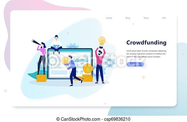 Ilustración de concepto de financiación de multitudes. Un grupo de gente da dinero - csp69836210