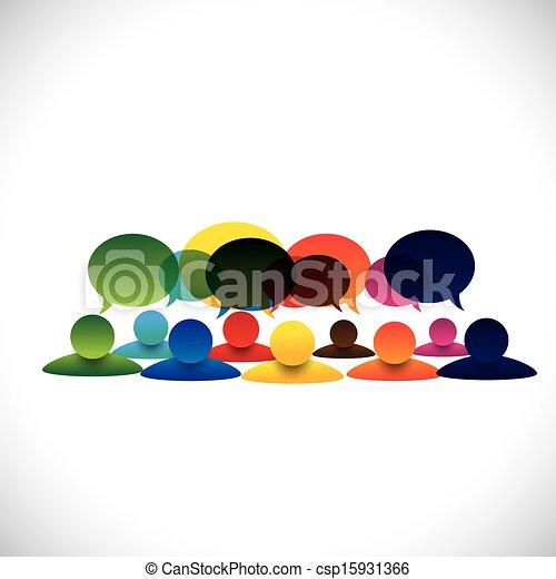 Concepto vector de grupo de personas hablando o charlas de empleados - csp15931366