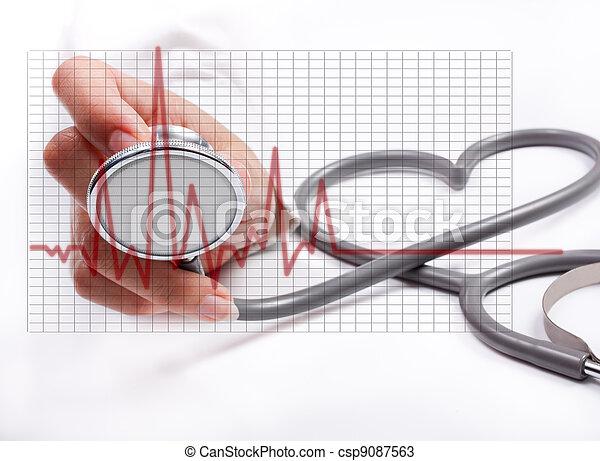 concepto, hembra, stethoscope;, mano, salud, tenencia, cuidado - csp9087563