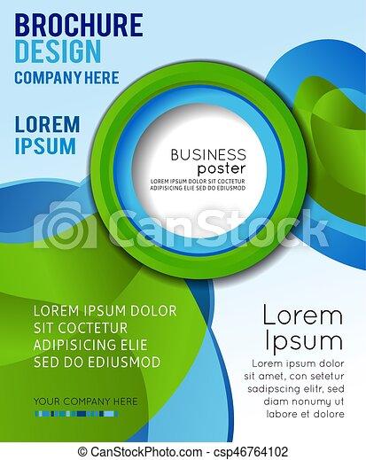 Diseño de concepto de fondo para folletos o folletos, ilustración abstracta del vector. Círculo con Wawes - csp46764102