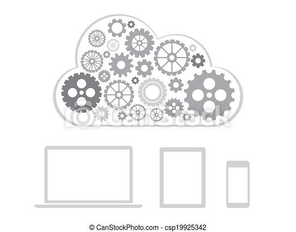 Diseño de conceptos de computación de nubes - dispositivos conectados a la nube - csp19925342