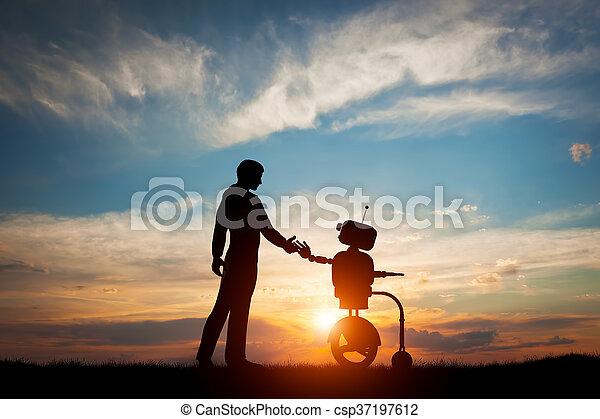El hombre y el robot se reúnen y saludan. Concepto la interacción futura con la inteligencia artificial - csp37197612