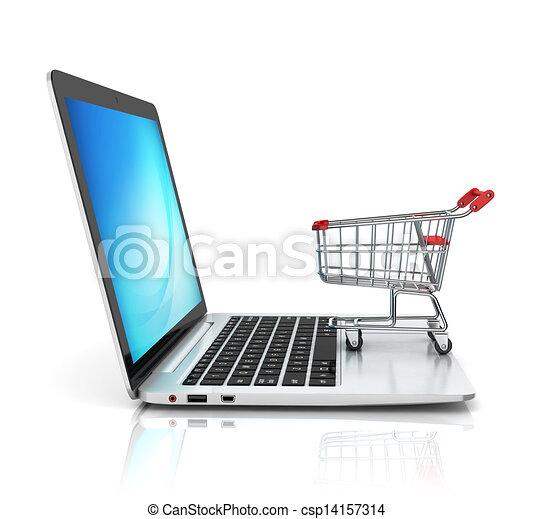 El concepto de compra en línea 3D - csp14157314