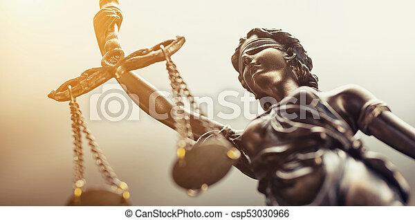 concepto, justicia, imagen, legal, símbolo, estatua, ley - csp53030966
