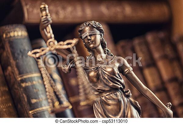 concepto, justicia, imagen, -, legal, estatua, ley, dama - csp53113010