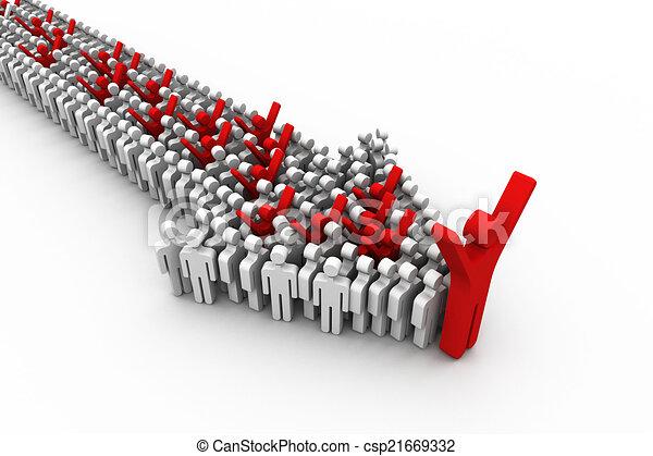Concepto de liderazgo, ilustración 3D - csp21669332
