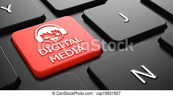 concepto, medios, digital, button., teclado, rojo - csp19931827