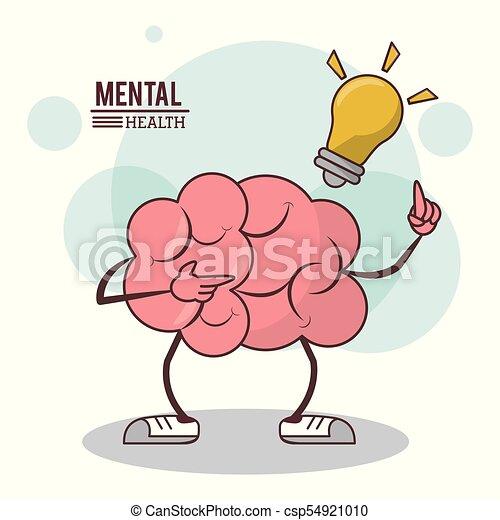 Salud Mental Concepto De Iluminación Cerebral De Dibujos