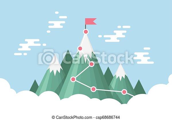 Gol de negocios éxito concepto infográfico. Bandera en la cima de la montaña. - csp68686744