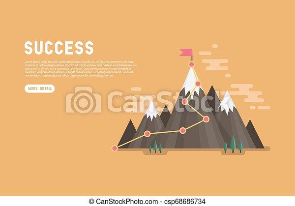 Gol de negocios éxito concepto infográfico. Bandera en la cima de la montaña. - csp68686734