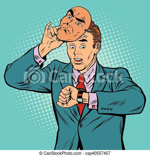 Hombre de negocios mirando su reloj, el concepto del tiempo - csp40557457