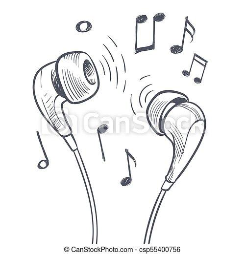 Concepto Notas Auriculares Mano Vector Música Dibujado