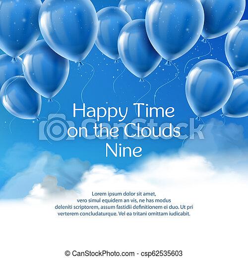Tiempo feliz en las nubes nueve, estandarte conceptual - csp62535603
