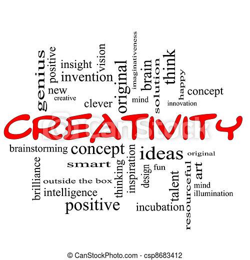 """La palabra """"Creatividad"""" es un concepto rojo negro - csp8683412"""