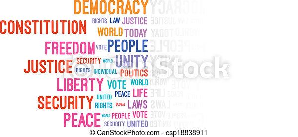 concepto, palabra, democracia, nube - csp18838911