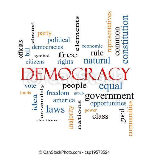 concepto, palabra, democracia, nube - csp19573524