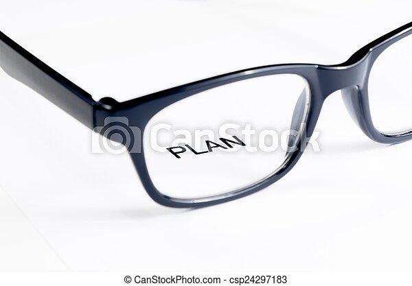 Palabras de plan ver a través de lentes, concepto de negocios - csp24297183