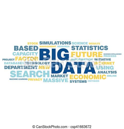 concepto, palabra, grande, etiqueta, datos, nube - csp41663672