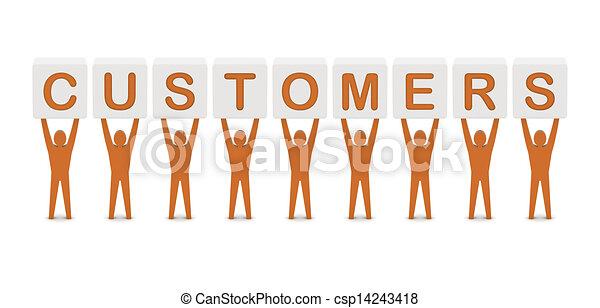 Hombres sosteniendo la palabra clientes. Concepto ilustración 3D. - csp14243418