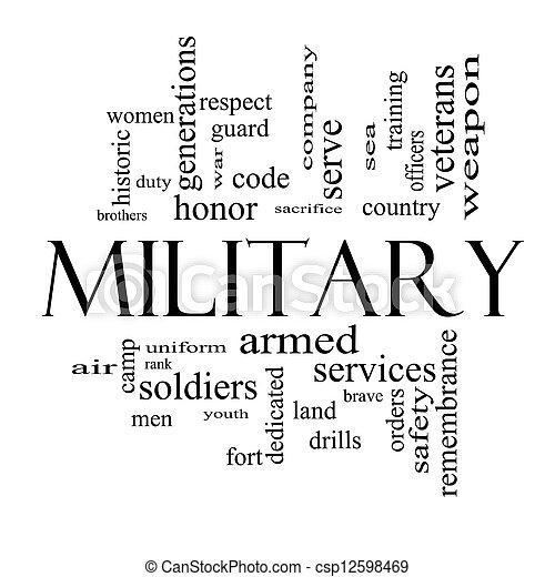 El concepto militar de la palabra nube en blanco y negro - csp12598469