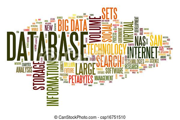 concepto, palabra, nube, base de datos - csp16751510