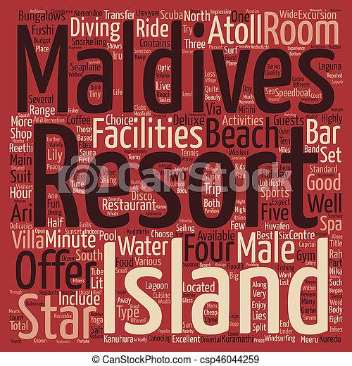 Una revisión del mejor valor de las Maldivas Resorts de vacaciones parte texto palabra de fondo concepto de nube - csp46044259
