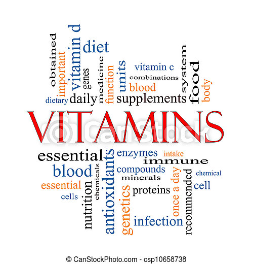 concepto, palabra, vitaminas, nube - csp10658738