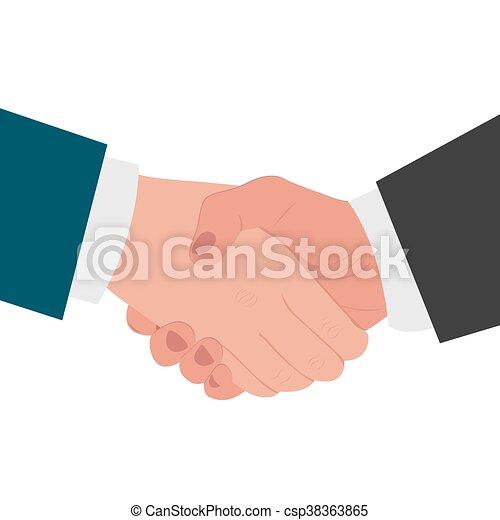 Apretón de manos, concepto de acuerdo, plano - csp38363865