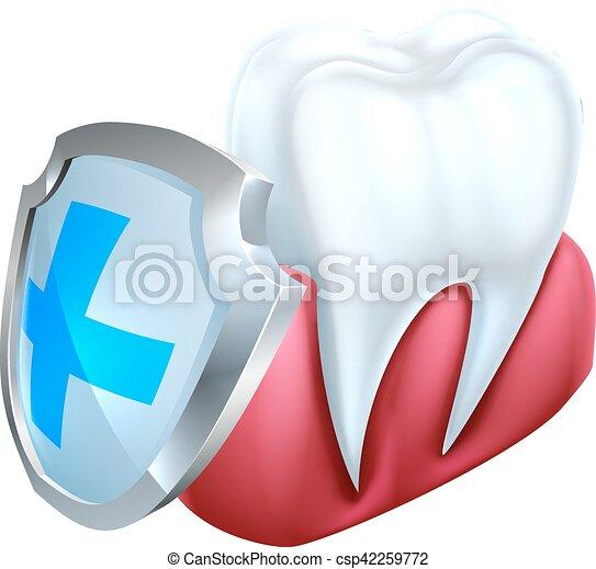 El concepto del escudo de goma de dientes - csp42259772