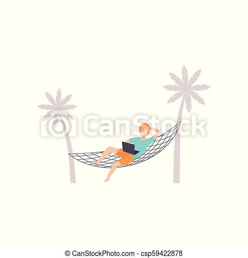 Freelancer tendido en la hamaca y trabajando con portátil, trabajando a distancia, vector de concepto independiente de ilustración en un fondo blanco - csp59422878