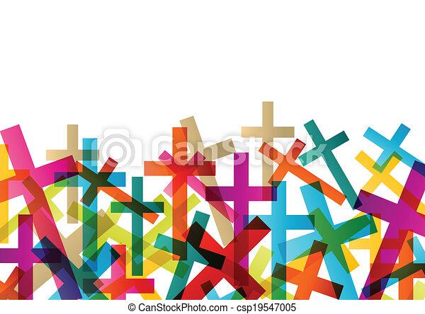 concepto, resumen, cruz, cristianismo, religión, vector, plano de fondo - csp19547005