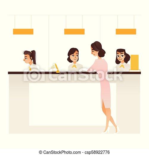 La chica de la oficina de administración bancaria en recepción - csp58922776